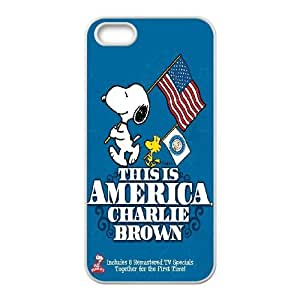 Special Design Cases iPhone 5, 5S Cell Phone Case White Pcbys Charlie Brown and Snoopy Durable Rubber Cover