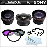 37mm Lens Kit Bundle For Sony HDR-CX130 HDR-CX160 HDR-CX360V HDR-CX560V HDR-CX700V HDR-XR160 Handycam Camcorder Includes .21x Fisheye Lens + 3PC Filter Kit + Wide Angle Lens + 2X Telephoto Lens + More