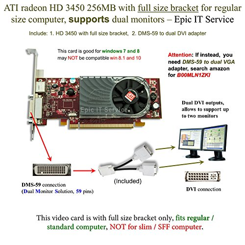 ATI Radeon HD 3450 256MB low profile graphics card (full size bracket, DMS-59 to dual DVI adapter)