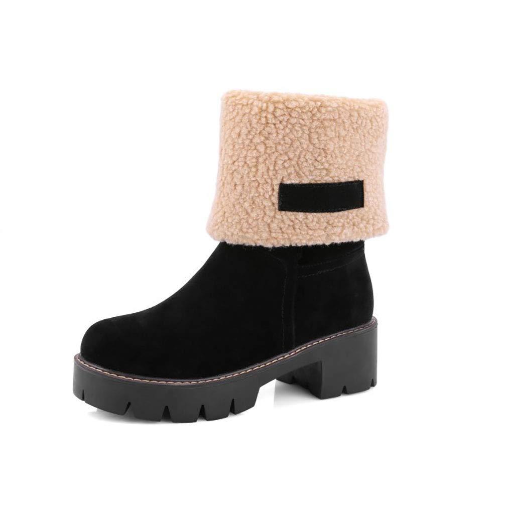 Hy Frauen-Winter-warme Schnee-Stiefel-Starke Unterseite Wasserdichte große Größen-Winter-Aufladungen/Damen-Skifahren-Schuhe rot/schwarz (Farbe : Schwarz, Größe : 42)