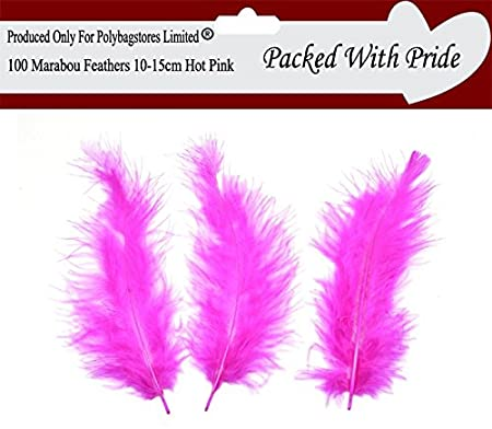 100 RED Marabou Feathers 10cm to 15cm Long