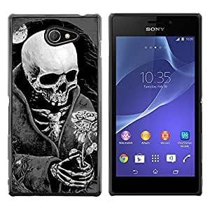 MobileHut / Sony Xperia M2 / Death Reaper Grim Black White Rose / Delgado Negro Plástico caso cubierta Shell Armor Funda Case Cover
