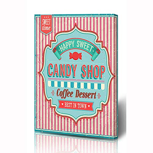 Ahawoso Canvas Prints Wall Art 12x16 Inches Baking Pink Sweet Candy Food Drink Text Vintage Retro Label Bakery Pie Design Wooden Frame Printing Home Living Room Office Bedroom
