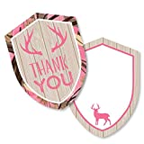 Pink Gone Hunting - Shaped Thank You Cards - Deer Hunting Girl Camo Baby Shower or Birthday Party Thank You Note Cards with Envelopes - Set of 12