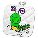 3dRose All Smiles Art - Animals - Cute Funny Green Caterpillar Playing Soccer or Football Cartoon - 8x8 Potholder (PHL_291197_1)