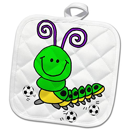3dRose All Smiles Art - Animals - Cute Funny Green Caterpillar Playing Soccer or Football Cartoon - 8x8 Potholder (PHL_291197_1) by 3dRose