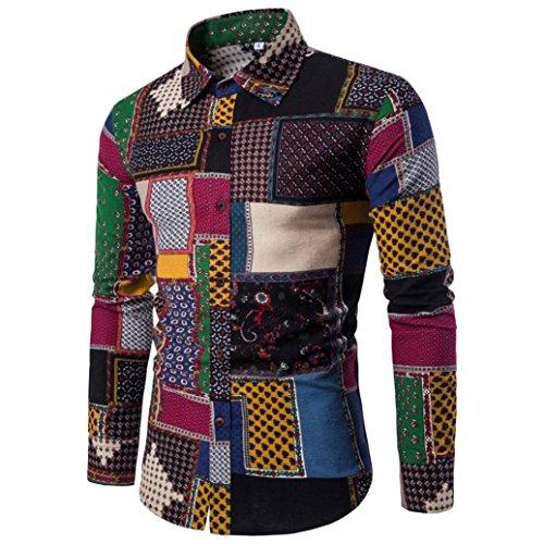 WM & MW Plus Size Mens Fancy Shirt Casual Long Sleeve Button Novelty Patchwork Print Slim Fit Shirt Lapel Top (3XL=(US:2XL), (Cheap Fancy Dress Websites)