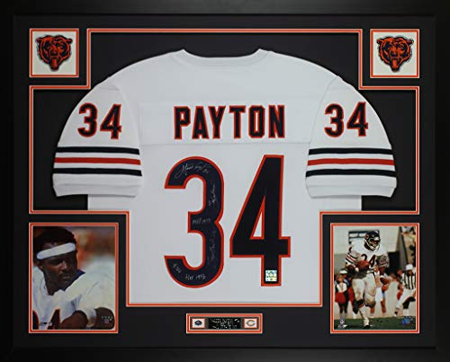 (Walter Payton Autographed White Chicago Bears Jersey - Beautifully Matted and Framed - Hand Signed By Walter Payton and Certified Authentic by PSA - Includes Certificate of Authenticity)
