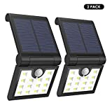 Foldable Solar Lights [2PCS], MoKo 14 LED Solar Powered Motion Sensor Night Lights Waterproof Wall Lamp Spotlights Outdoor Security Lighting for Patio Courtyard Garden Fence Pathway Street – BLACK