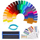 Neewer 24 Pieces Camera Flash Speedlite Lighting Color Gel Filter Kit - Transparent Color Correction Lighting Film Plastic Sheets with One Attachment Band for Photo Studio Strobe Flash Light