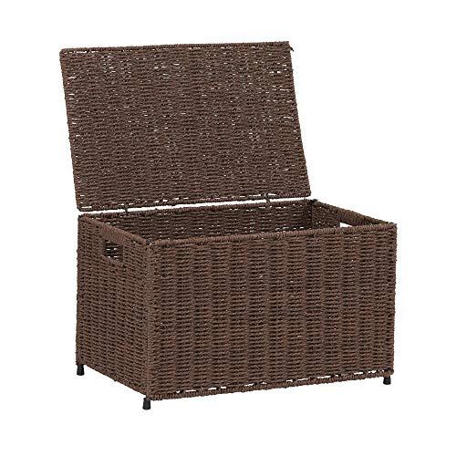 Living Wicker - Household Essentials ml-7140 Decorative Wicker Chest Lid Storage Organization, Small, Dark Brown