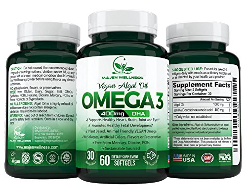 Omega 3 Algal Oil - DHA Vegan Supplement, Triglyceride Form, Supports Healthy Heart, Joint, Brain, Eyes - 60 Softgels - 400mg