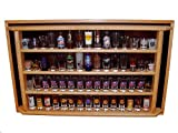 60 Shot Glass/Shooter Display Case Enclosed Cabinet Rack Holder, Red Oak