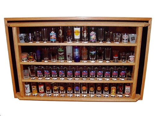 60 Shot Glass/Shooter Display Case Enclosed Cabinet Rack Holder, Natural by Display Shack