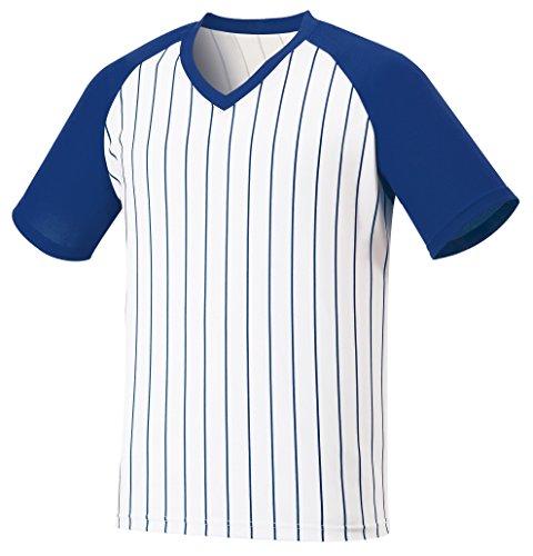 (myglory77mall Vneck Pinstripe Baseball Raglan Coolmax Dryfit tshirts Jersey Top US M(L tag) Cobalt)