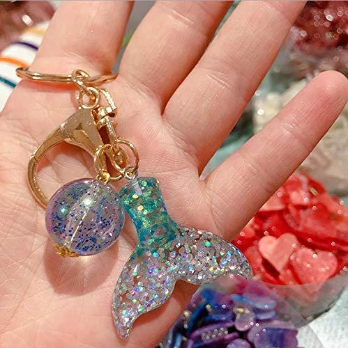Women/'s Mermaid Fish Scale Tail Pendant Keychain Key Ring Handbag Purse Decor ES
