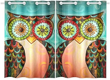 your-fantasia Cute Colorful Owl Window Curtain Kitchen Curtain Two Pieces 26 x 39 inches