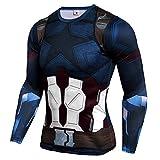 Men Slim Fit Short Long Sleeve Captain America Winter Soldier Compression Shirt