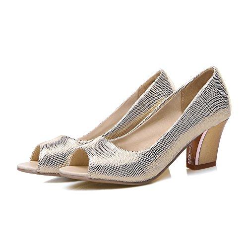 AdeeSu Ladies No-Closure Peep-Toe Chunky Heels Urethane Sandals Gold 3d3sklZjbO