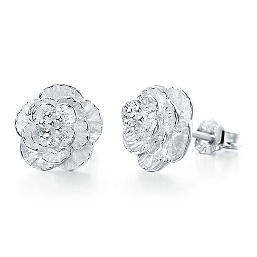 925 Silver Flower Stud Earrings Hypoallergenic and Elegant Earrings with a Charm Jewelry Gift Box for Women and Girls