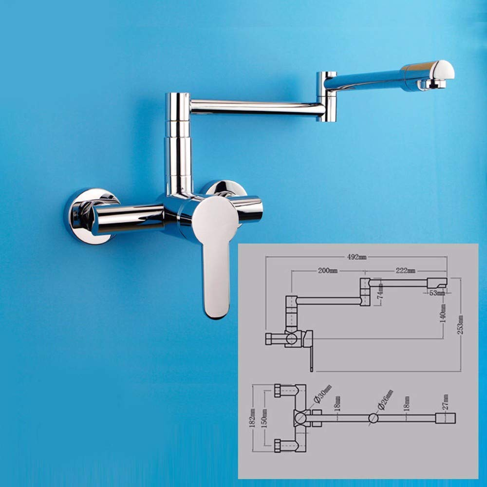 JingJingnet WALL MOUNTED KITCHEN FAUCET、ホット&コールドフル銅、洗面台蛇口、バスタブ蛇口で皿洗い、洗濯プール用水栓、フラッシュマウント盆地用蛇口 (Color : Model Number: Cflr015) B07SLS2VD1 Model Number: Cflr015