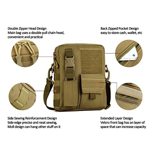 Wowelife Small Canvas Messenger Bag Small Tactical Bag Crossbody Casual Pack