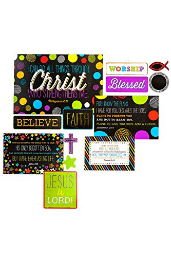 Renewing Minds Chalk Talk Christian Bulletin Board Set, Multi-Colored, 9 Pieces ()
