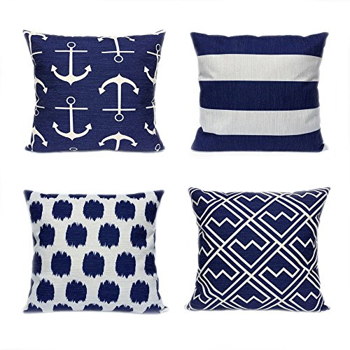 Afagahahs Decorative Throw Pillow Covers Blue White Stripe Navy Style Anchor Cotton Linen Cushion Covers,(4PC Pack) 26 26 inch Two Sides ()