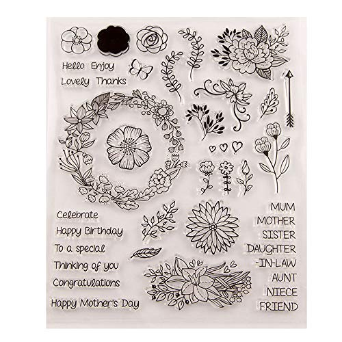 Happy Mother's Day DIY Flowers Happy Birthday Celebrate Sentiments Phrases Words Stamps Rubber Clear Stamp/Seal Scrapbook/Photo Album Decorative Card Making Clear Stamps