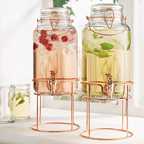 Elegant Home Set of Two (2) Quality Clear Glass Each (1) Gallon Each Glass Bail & Trigger Locking Lid Beverage Dispenser with Spout on Copper Metal Stand. by HC
