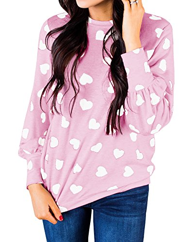 Valphsio Womens Heart Printed Long Sleeve Valentines Tops Casual Loose Blouse Sweatshirt Top White