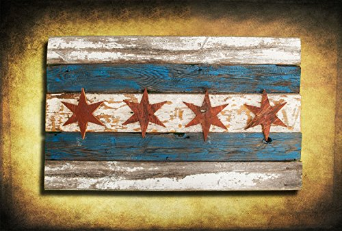Handmade, Recycled Barn Wood Chicago Flag, vintage, art, distressed, weathered, reclaimed, Chicago flag art, home decor, Wall art, Blue by Chris Knight Creations