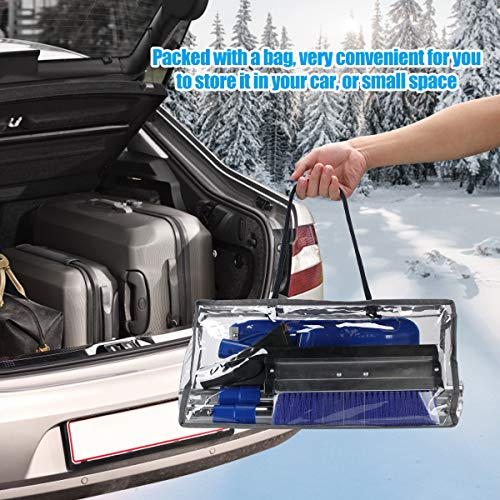 HONGNAL Extendable 4 in 1 Snow Removal Kit with Auto Emergency Snow Shovel,Ice Scraper,Snow Brush,Squeegee for Car, Snowmobiles,ATV –Winter Survival Gear for Camping -Detachable Multifunctional