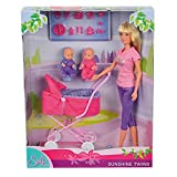 Steffi Love Sunshine Twins Set - 1 Fashion Doll, 1 Pram, 2 Babies + Accessories