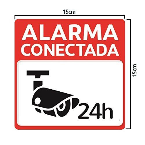 Pegatina adhesiva disuasoria alarma cámaras de vigilancia Alarma conectada 24 horas. Pegatina hogar. Cartel disuasorio alarma Pegatina exterior ...