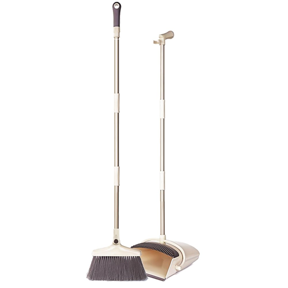 Extended Broom and Dustpan Set- 50'' Long Handle Rotatable Self Cleaning Broom and Dust Pan with Long Handle, Standing Upright Grips Sweep Set with Lobby Broom Combo Set for Kitchen Garden Garage-Beige