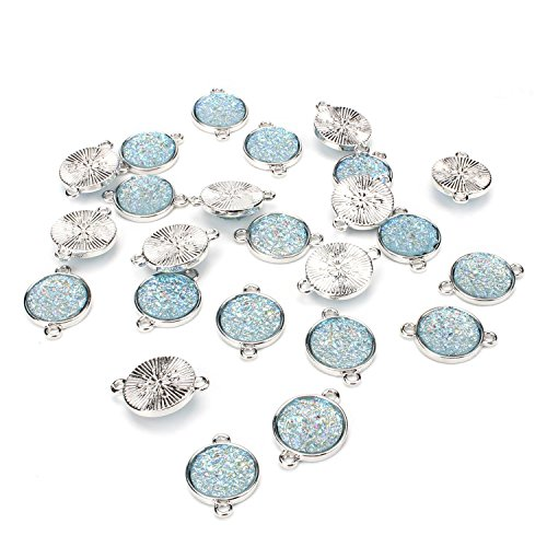 Wholesale 24 PCS Cabochon Druzy Connector Faux Drusy Resin Iridescent with Double Bail Connector Round Charm Bulk for Jewelry Making (Aqua) ()