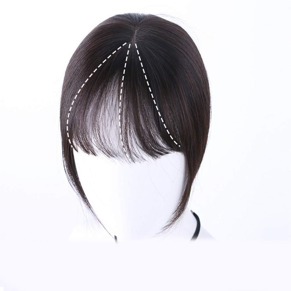 Yrattary 女性のフルハンド織り前髪リアルヘアウィッグヘアエクステンションヘアエクステンションパーティーかつら (Color : [9x14] 20cm dark brown) B07QHHRVXB [9x14] 20cm dark brown