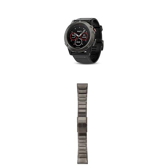Amazon Com Garmin Fenix 5x Sapphire Slate Gray With Black Band