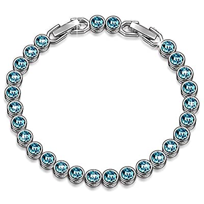 "LADY COLOUR Bracelet ""Ballad for Adeline"" Blue Tennis Bracelet Made with SWAROVSKI Crystals-[Gift Packing] by LadyColour Jewelry"