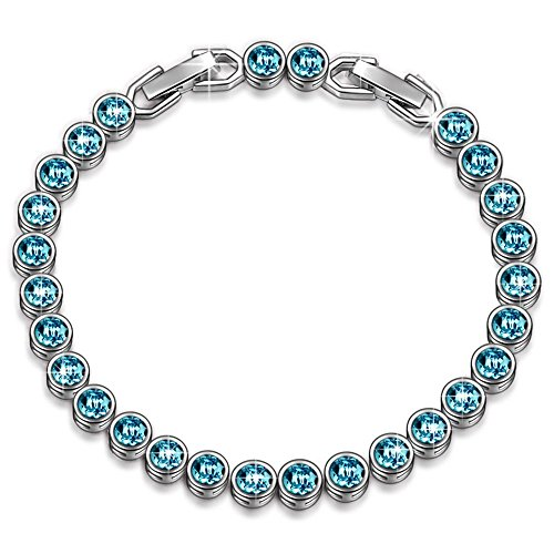 LADY COLOUR SALE Bracelet 30% Off Gifts for Women Aquamarine Blue Tennis Bracelet Swarovski Crystals Jewelry for Women Birthday Gifts for Her for Wife Gift for Teen Girls (Swarovski Crystal Bracelet Jewelry)