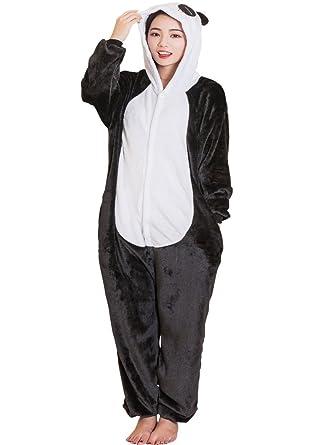 de67bfa593a1 Amazon.com  QQonsie Adult Pajama Panda Onesie Halloween Costume for Men  Women Animal Onsie  Clothing