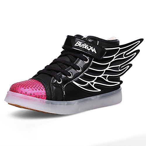 [DoGeek Light Up Shoes Athletic Wings Led Shoes Children Light up Sneakers Boy Girl Dance Trainers (25,] (Light Up Angel Wings)