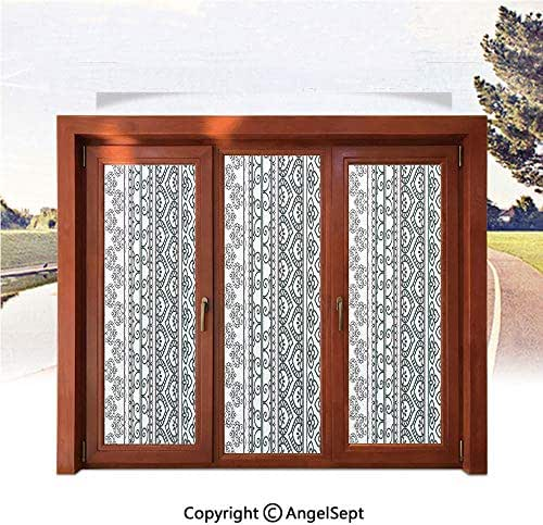 Heat Control Decorative Stained Glass Window Films,Old Vintage Swirls Leaf Figures Abstract Artistic Composition with Vertical Borders Decorative 17.7