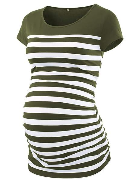 ff3cbb7e7ca7f CareGabi Maternity Top Women's Short Sleeve Round Neck Striped Shirts Army  Green, Small