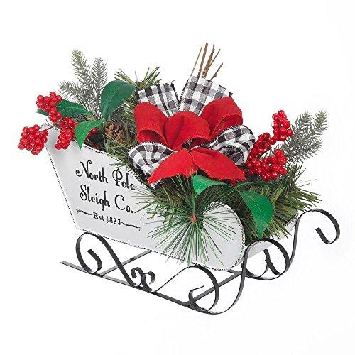 North Pole Sleigh Co. Tabletop Centerpiece Metal Christmas Sleigh