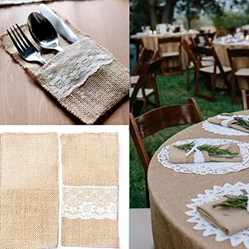 ☀ Dergo ☀ Handmade Burlap Jute Lace Party Wedding Cutlery Bag Tableware Holder ()