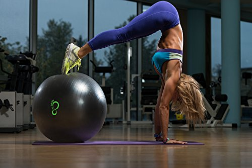 Exercise Ball -Professional Grade Exercise Equipment Anti Burst Tested with Hand Pump- Supports 2200lbs- Includes Workout Guide Access- 55cm/65cm/75cm/85cm Balance Balls (Dark Grey, 55 cm) by Live Infinitely (Image #4)