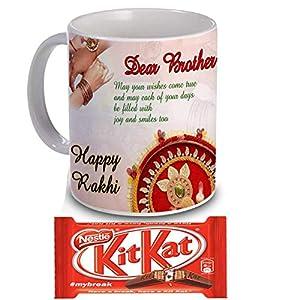 Rakhi Gift For Brother & Sister (Quote Printed Coffee Mug, Kitkat Chocolates, Roli ,Chawal, Chandan & Mishri)