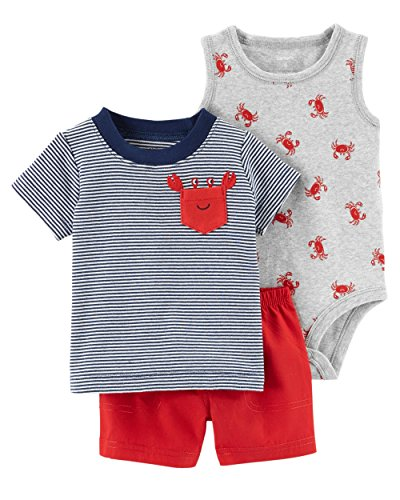 Carter's Baby Boys' 3 Piece Layette Set (Baby) (24 Months, Pocket Crab)
